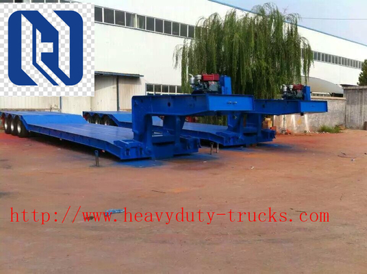 Chiny SHMC Loading Construction Machines Hydraulic Flatbed Semi Trailers 3 Axles 80 Ton 17m dystrybutor